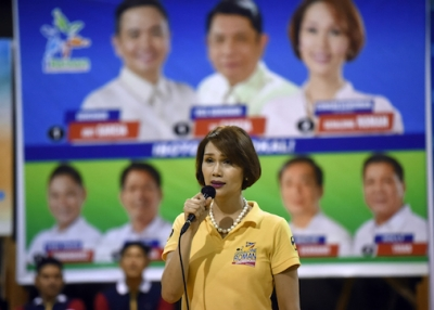 Then candidate Geraldine Roman campaigns in Orani, Bataan province, north of Manila on April 30, 2016. (Ted Aljibe/AFP/Getty Images)