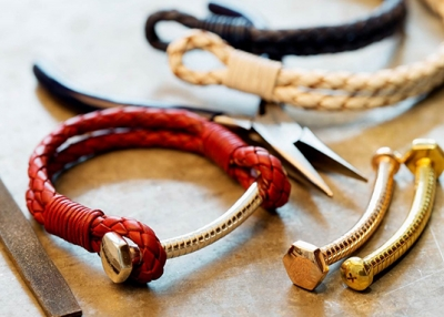 Carrie K.'s bolt bracelets made from leather and gold. (Image courtesy of Carrie K)