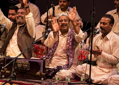 Fareed Ayaz, Abu Muhammad Qawwal and Brothers perform at Asia Society New York on May 6, 2017 as part of Lahore Literay Festival (Maria Baranova-Suzuki/Asia Society)