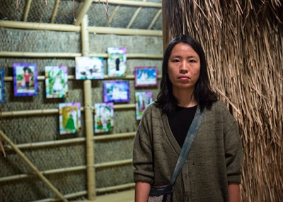 Artist Nugyen Thi Thanh Mai photographed in front of her installation piece 'Travels' at Asia Society New York on September 8, 2017. (Asia Society/Maria Baranova)