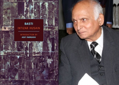 "L: First American edition of ""Basti"" by Intizar Husain; R: Husain at the Karachi Literature Festival on February 5, 2011. (Karachi Literature Festival/Flickr)"