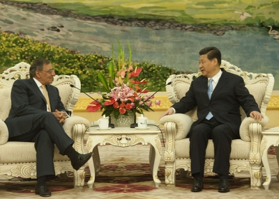 U.S. Secretary of Defense Leon E. Panetta meets with Chinese Vice President Xi Jinping prior to a meeting in Beijing on Sept. 19, 2012. (U.S. Secretary of Defense/Flickr)