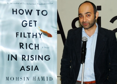 "L: American cover art for ""How to Get Filthy Rich in a Rising Asia,"" the forthcoming novel by Mohsin Hamid (R), shown here at an Asia Society India Centre event in Mumbai in Dec. 2012."