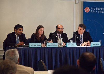 (L to R) Panelists Amb. Omar Samad, Clare Lockhart, and Hassan Abbas and moderator Tom Nagorski at Asia Society's event in Washington, D.C. on July 9, 2014. (Christina Dinh/Asia Society)