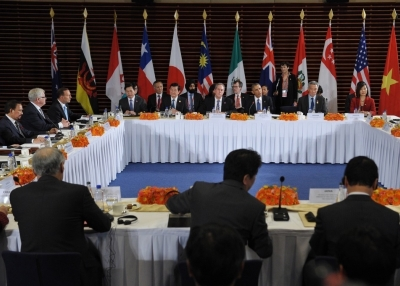 Leaders from the Trans-Pacific Partnership take part in a meeting at the U.S. Embassy in Beijing on November 10, 2014. From left: Vietnam's Vu Hu Hoang, U.S. Trade Representative Mike Froman, U.S. President Barack Obama, Singapore Prime Minister Lee Hsien Loong, and Singapore's Ow Foong Pheng. (Mandel Ngan/Getty Images)