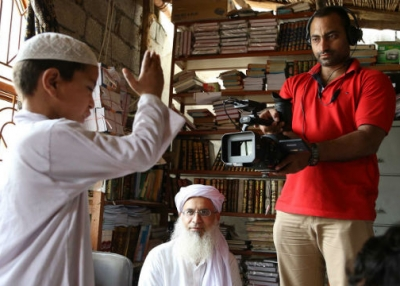 "On location for ""Among the Believers,"" a new documentary by Hemal Trivedi and Mohammed Naqvi. (Courtesy of the filmmakers)"