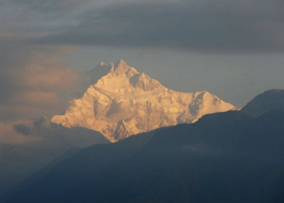 Mount Kangchenjunga is seen from Pelling in India's Sikkim state on December 19, 2013. (Diptendu Dutta /AFP/Getty Images)