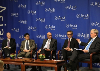 Members of a new Asia Society Policy Institute commission discuss securing peace in Asia through institutions. (Ellen Wallop/Asia Society)