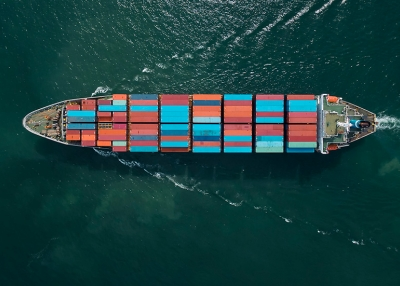 Aerial view of cargo ship, cargo container near Thailand.