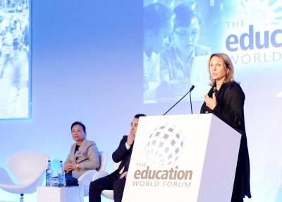 Asia Society President and CEO Josette Sheeran speaks at the 2018 Education World Forum