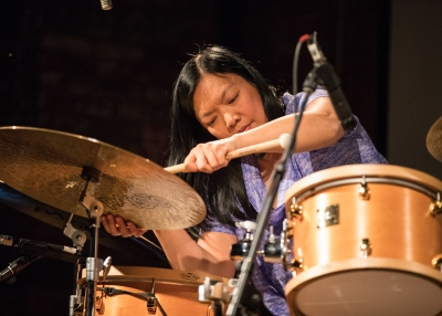 Susie Ibarra with drumset
