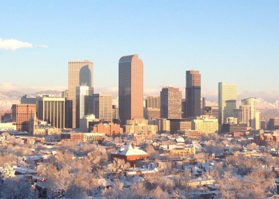 Denver's skyline in winter. (R0uge/Wikimedia Commons)