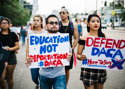 Marchers at the Los Angeles March for Immigrant Rights