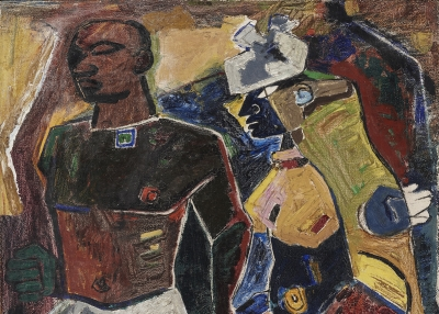 M. F. Husain. Peasant Couple, 1950.