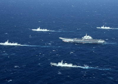 PLA Navy ships in formation.