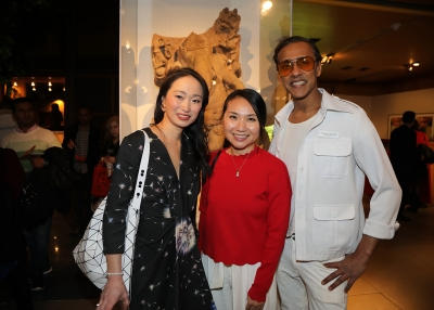Danielle Chang, Sophia Tsao, and Stanley George pose at Asia Society following their panel