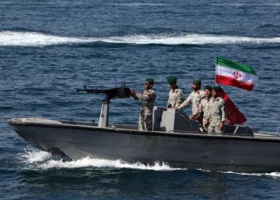 Iranian soldiers participate in an exercise in the Strait of Hormuz