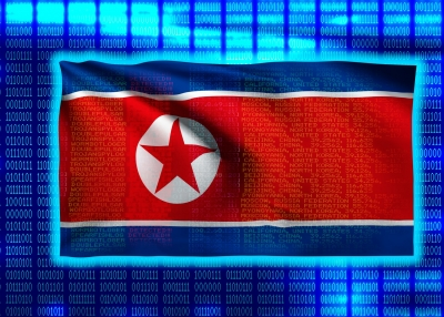 North Korean Flag on Binary code
