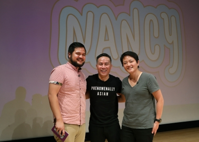 Nancy co-host Tobin Low, actor BD Wong, and Nancy co-host Kathy Tu