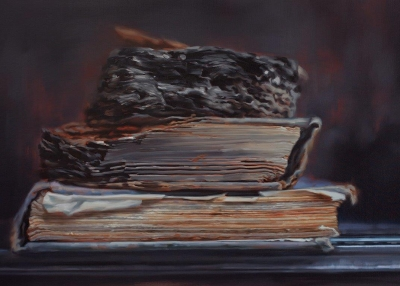 Xiaoze Xie. Through Fire (Books that Survived the Anti-Japanese War of Resistance at Tsinghua University No.2), 2017. Oil on canvas. H. 48 x W. 74 in. (122 x 188 cm). Courtesy of the artist and Chambers Fine Art. Photograph courtesy of the artist