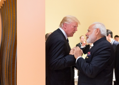 President Donald Trump and Prime Minister Narendra Modi greet each other at the G-20 summit in Hamburg, Germany, on July 7, 2017.