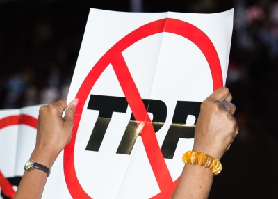 An anti-TPP protester at the 2016 Democratic National Convention