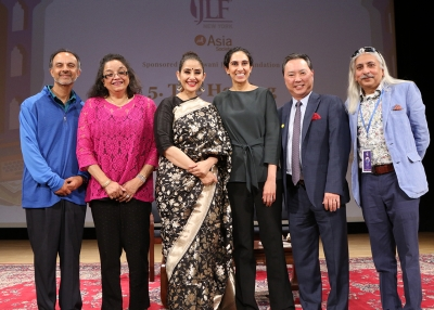 Manisha Koirala, Saanjoy Roy, and team on stage at Jaipur Literature Festival in New York