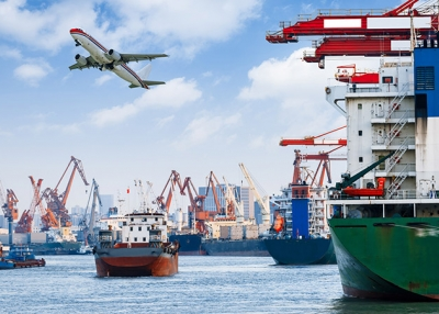Container ships and plane iStock