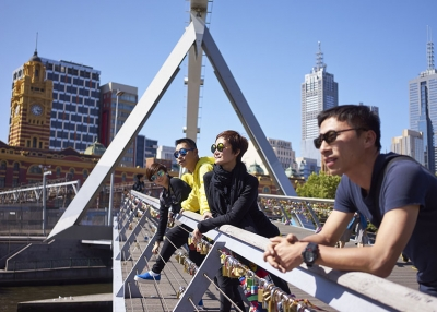 People on Melbourne bridge