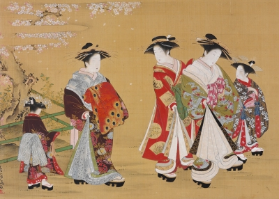 Kubo Shunman (1757–1820)  Courtesans Promenading under Blossoming Cherry  Japan  Edo period, 1781–89  Hanging scroll; ink and color on silk  H. 16⅝ x W. 24¾ in. (42.2 x 63 cm)  John C. Weber Collection Photography by John Bigelow Taylor, courtesy of John C. Weber Collection
