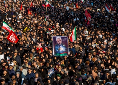 Iranians attend the funeral of Maj. Gen.  Qassim Suleimani