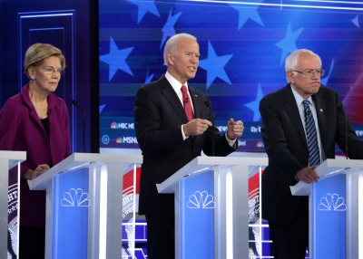 Elizabeth Warren, Joseph Biden, and Bernie Sanders during November's Democratic presidential debate