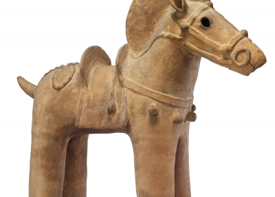 Model of a Horse. Japan. Tumulus period, ca. 5th century. Earthenware. H. 35¹⁄₁₆ x W. 36⅝ in. (89 x 93 cm). John C. Weber Collection. Photography courtesy of John C. Weber Collection.