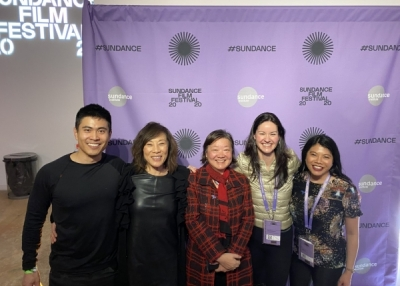 From left to right: Bing Chen (Asia Society Southern California Board Member), Janet Yang (Academy Governor-at-Large and Executive Producer of The Joy Luck Club), Alice Mong (Asia Society Hong Kong Executive Director), Margaret Conley (Asia Society Northern California Executive Director), Rexille Uy (Asia Society Northern California Director of Programs)
