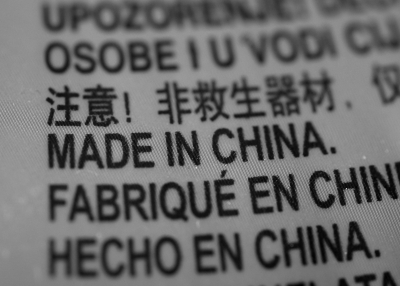 Made in China tag in various languages
