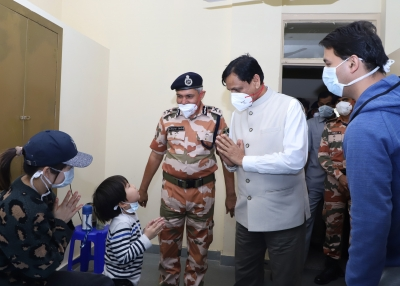 India's Minister of State for Home Affairs, Shri Nityanand Rai visiting the Coronavirus Quarantine Centre at the ITBP Chhawala Centre in New Delhi on March 13, 2020