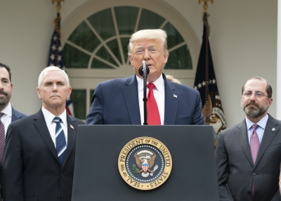 U.S. President Donald Trump and the coronavirus task force at a news conference on Friday, March 13, 2020, in the Rose Garden of the White House.