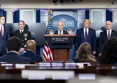 National Defense Production Act policy coordinator Peter Navarro takes questions from the press during a coronavirus update briefing