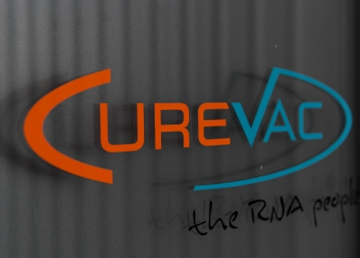 The logo of CureVac, a German biotech firm