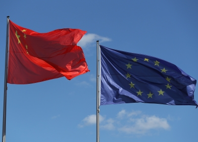 The Chinese and the EU flags next to each other