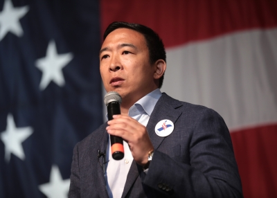 Andrew Yang speaking with attendees at the 2019 Iowa Democratic Wing Ding at Surf Ballroom in Clear Lake, Iowa