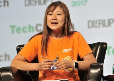VIPKID Founder and CEO Cindy Mi speaks onstage during TechCrunch Disrupt SF 2017
