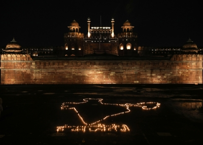 A candle lighting at the Red Fort, India during coronavirus