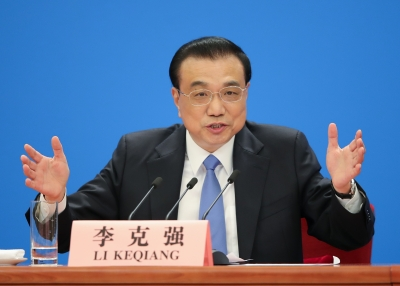 Chinese Premier Li Keqiang speaks at a news conference