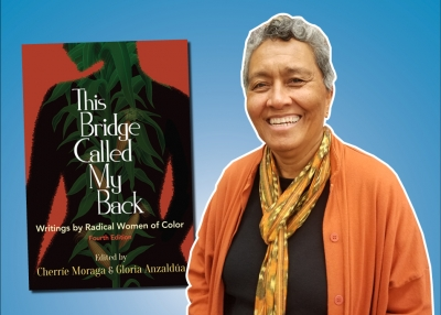 Photo of Dr. Margo Okazawa-Rey on the right with image of the cover of the anthology This Bridge Called My Back on the left side.
