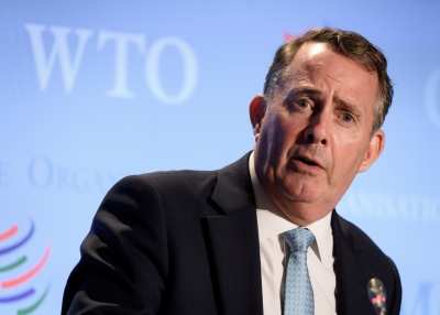 Liam Fox, WTO Director-General candidate, at a press conference