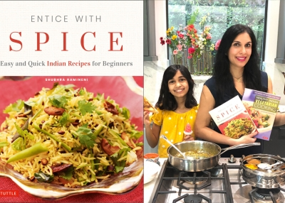 Shubhra Ramineni and Jaya with Entice With Spice Cookbook