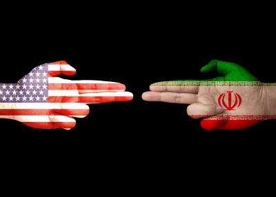 US versus Iran flags