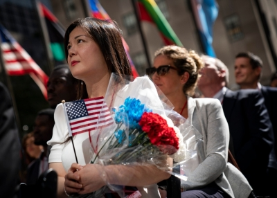 Naturalization Ceremony Held For 50 New Citizens At Rockefeller Center In NYC