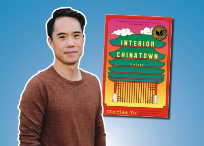 Photo of author Charles Yu alongside the cover of Interior Chinatown.